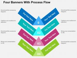 Four Banners With Process Flow Flat Powerpoint Design