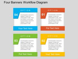 Four Banners Workflow Diagram Flat Powerpoint Design