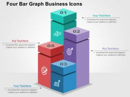 Four Bar Graph Business Icons Flat Powerpoint Design
