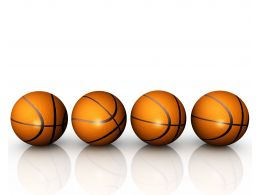 Four Basketballs In Linear Order Game Theme Stock Photo