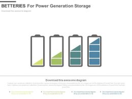 Four Batteries For Power Generation Storage Powerpoint Slides