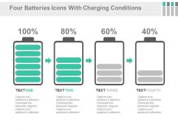 Four Batteries Icons With Charging Conditions Powerpoint Slides