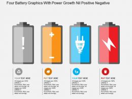 Four Battery Graphics With Power Growth Nil Positive Negative Flat Powerpoint Design