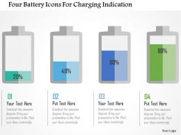 Four Battery Icons For Charging Indication Flat Powerpoint Design