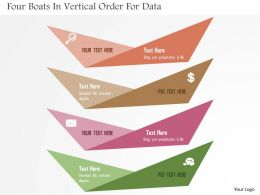 Four Boats In Vertical Order For Data Flat Powerpoint Design