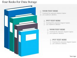 Four Books For Data Storage Flat Powerpoint Design