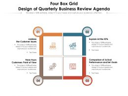 Four Box Grid Design Of Quarterly Business Review Agenda