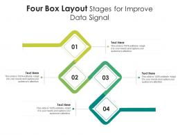 Four Box Layout Stages For Improve Data Signal Infographic Template