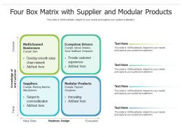 Four Box Matrix With Supplier And Modular Products