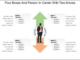 Four Boxes And Person In Center With Two Arrows