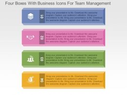 Four Boxes With Business Icons For Team Management Flat Powerpoint Design