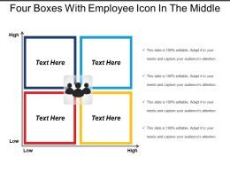 Four Boxes With Employee Icon In The Middle