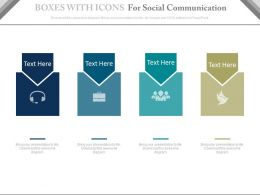 Four Boxes With Icons For Social Communication Powerpoint Slides