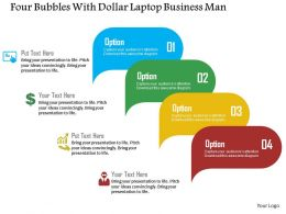 Four Bubbles With Dollar Laptop Business Man Flat Powerpoint Design