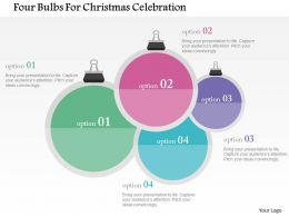 Four Bulbs For Christmas Celebration Flat Powerpoint Design