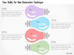 Four Bulbs For Idea Generation Technique Flat Powerpoint Design