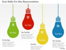 Four Bulbs For Idea Representation Flat Powerpoint Design