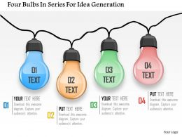 Four Bulbs In Series For Idea Generation Powerpoint Template