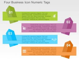 Four Business Icon Numeric Tags Flat Powerpoint Design