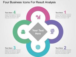 Four Business Icons For Result Analysis Flat Powerpoint Design