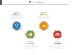 Four Business Icons For Vision Analysis Powerpoint Slides