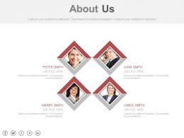 Four Business Peoples For About Us Analysis Powerpoint Slides
