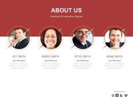 Four Business Peoples For About Us Details Powerpoint Slides
