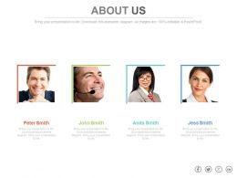 Four Business Peoples For Communication About Us Powerpoint Slides