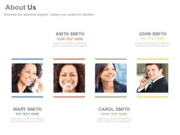 Four Business Peoples For Company About Us Profile Powerpoint Slides