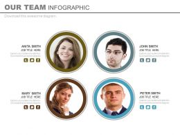 Four Business Peoples For Our Team Portfolio Powerpoint Slide