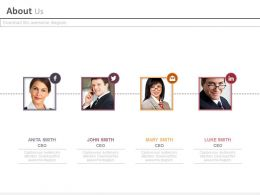 Four Business Peoples For Social Media Communication Powerpoint Slides