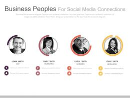 Four Business Peoples For Social Media Connections Powerpoint Slides