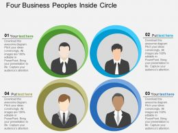 Four Business Peoples Inside Circle Flat Powerpoint Desgin