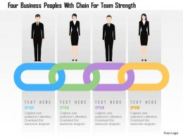 Four Business Peoples With Chain For Team Strength Flat Powerpoint Design