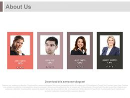Four Business Profiles With About Us Powerpoint Slides