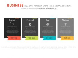 Four Business Tags For Macro Analysis For Marketing Powerpoint Slides