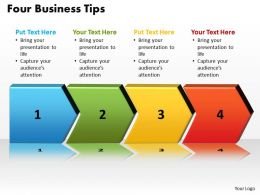 four business tips with arrows in line powerpoint diagram templates graphics 712