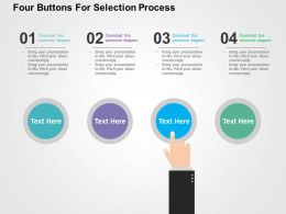 Four Buttons For Selection Process Flat Powerpoint Design