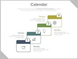 Four Calendar And Icons For Time Management Powerpoint Slides
