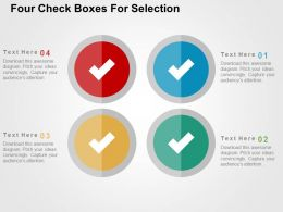 Four Check Boxes For Selection Flat Powerpoint Design