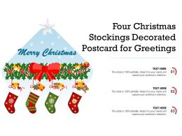 Four Christmas Stockings Decorated Postcard For Greetings