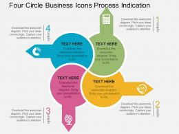 Four Circle Business Icons Process Indication Flat Powerpoint Design