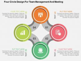 Four Circle Design For Team Management And Meeting Flat Powerpoint Design