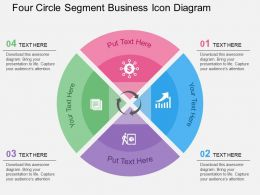 Four Circle Segment Business Icon Diagram Flat Powerpoint Design