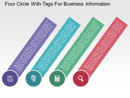 Four Circle With Tags For Business Information Flat Powerpoint Design