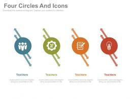 Four Circles And Icons For Business Idea Generation Powerpoint Slides