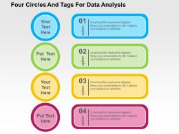 Four Circles And Tags For Data Analysis Flat Powerpoint Design