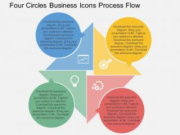 Four Circles Business Icons Process Flow Flat Powerpoint Design