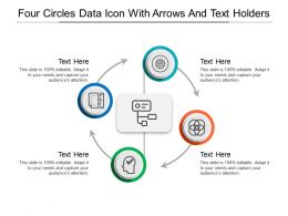 Four Circles Data Icon With Arrows And Text Holders