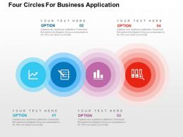 Four Circles For Business Application Flat Powerpoint Design